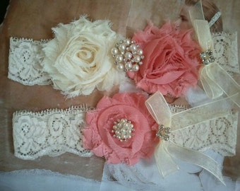 Bridal Garter, Wedding Garter and Toss Garter - Vintage Rose/Ivory Garter Set with Pearl & Rhinestone - Style G211