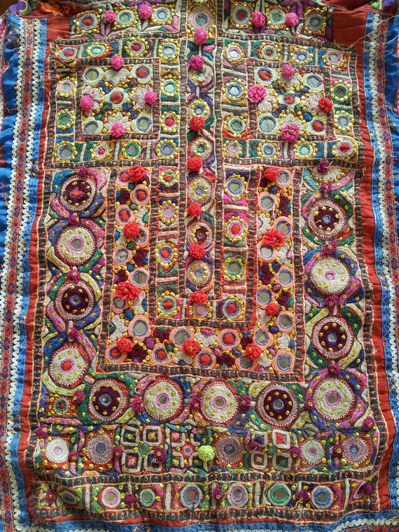 Vintage Indian Sindhi Tribe Embroidered Dress Mirror Work