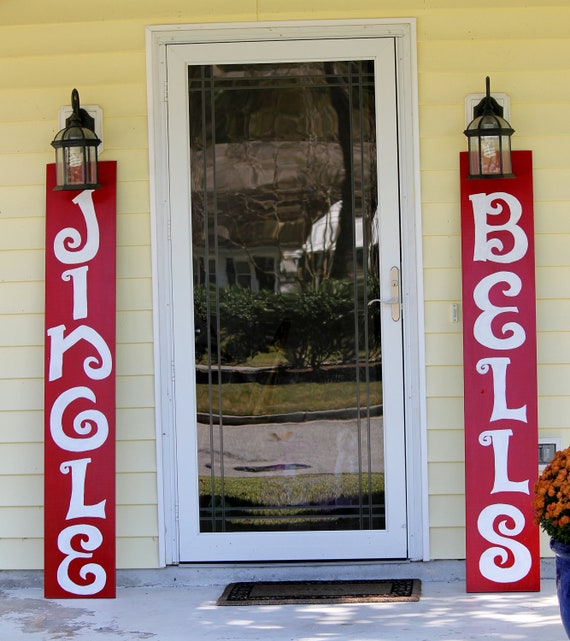 Jingle bells hand painted outdoor wooden signs by kcraftz for Outdoor christmas signs
