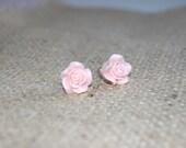 Light pink rose stud earrings
