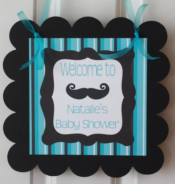 Door Sign Hanger Mustache Bash Little Man Baby Shower Theme