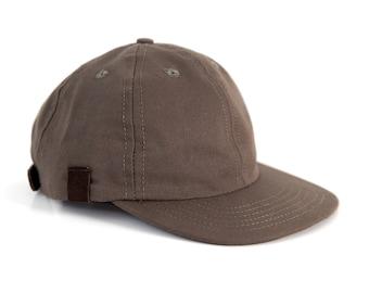 Khaki 6 Panel Baseball Cap, Canvas Leather Snapback Hat, Ball Cap Made in the USA