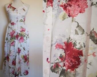 vintage floral dress // floral maxi dress // vintage halter dress