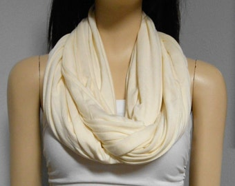 Vanilla Cream  Infinity Scarf SUPER Soft Knit