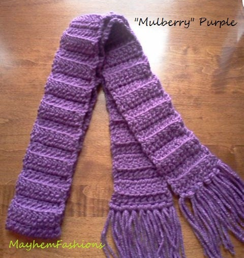 Childrens Scarf  Purple crochet  baby by MayhemFashions Crochet Childrens Scarf