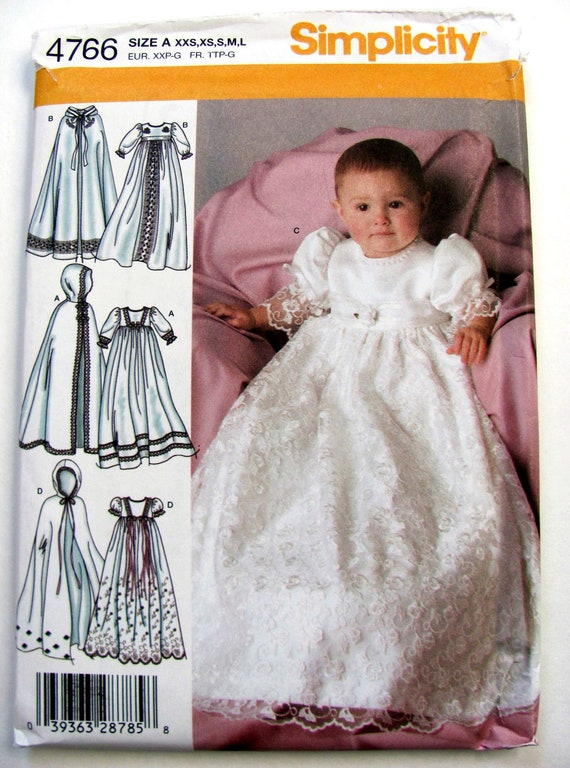 Simplicity 4766 Christening Gown And Cape Sewing Pattern