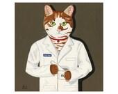 Cat Pharmacist Print Art Gift