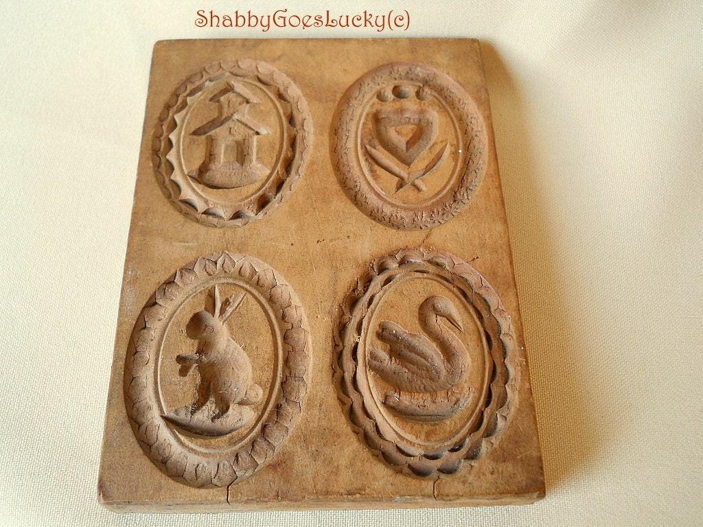 Hand Carved Cookie Mold German Vintage Wooden 4 Designs
