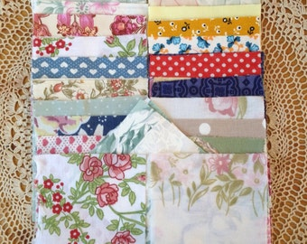 "Vintage Fabric Squares, Patchwork Squares 4""x4"""