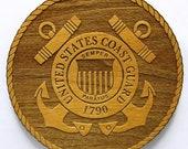 US Coast Guard Logo Wooden Fridge Magnet
