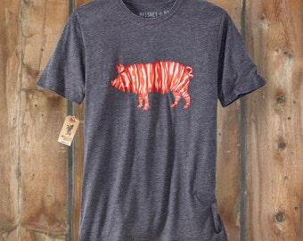 Bacon Pig T-Shirt  - Men's XL - CHARCOAL