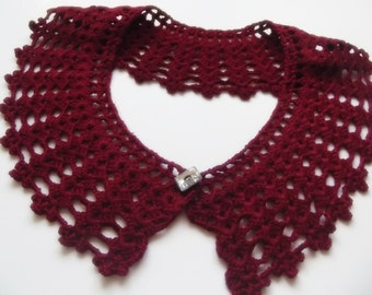 detachable hand crochet peter pan collar necklace bridal wedding christmas gift for her burgundy