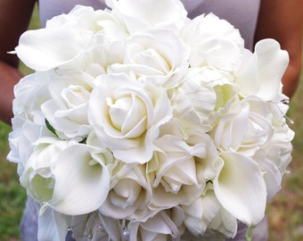 Bouquet of Silk Peonies, Callas and Roses Off White Natural Touch Flower Wedding Bride Bouquet - Almost Fresh