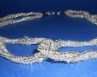bead woven jewelry necklaces silver herringbone spiral seed bead necklace