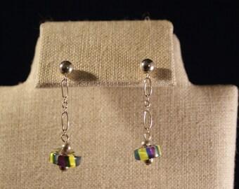 Art glass dangling post earrings