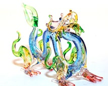 Glass Animal Figurine: a handmade magical dragon figurine.  Lampworked boro glass collectible. Blue Color*****Now in Purple too!!***