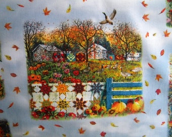 Harvest Quilts fabric--scenic vignettes--by the yard--Elizabeth's Studio