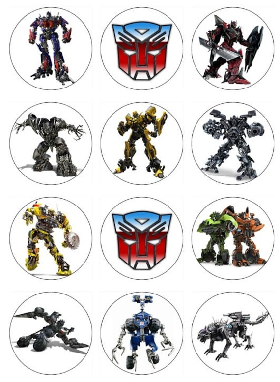 Items similar to Transformers Edible Cupcake Toppers 12 ...