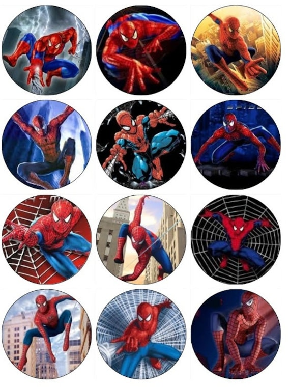 Spiderman Cupcake Images : Items similar to SPIDERMAN Edible Cupcake Toppers 12 ...