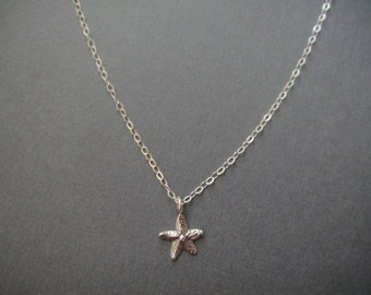 Silver Tiny Starfish Necklace in STERLING SILVER CHAIN--Silver Starfish Necklace-Perfect Gift for mom for friends, Birthday Present for her