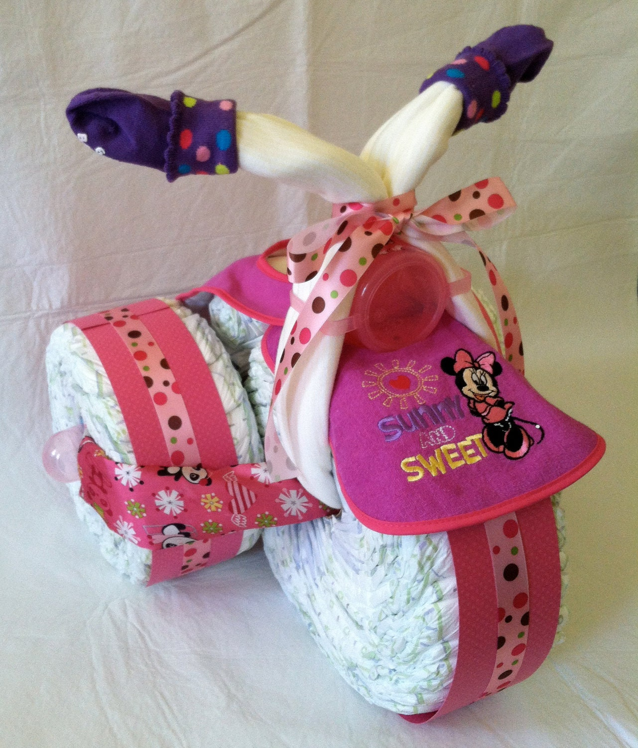 How To Make A Minnie Mouse Tricycle Diaper Cake