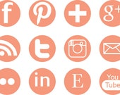 12 Pack Round or Square Social Media Icons