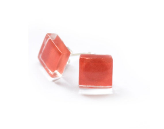 Rhombus shaped coral earrings