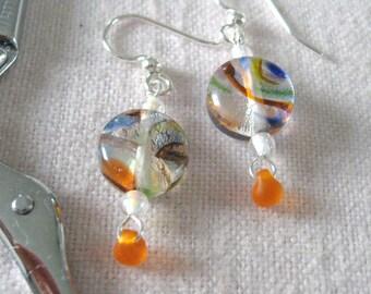 Tangerine, Cobalt Blue, Peridot Green  Silver Foil Millefiore Glass Disc Earrings  Handmade