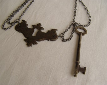 lock and key Keyhole escutcheon and skeleton key chain necklace