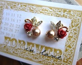 SALE: Diamante butterfly with wine red roses and coppery pearls earrings