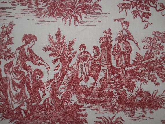 Items Similar To Red Toile Fabric Waverly Red And Creamy
