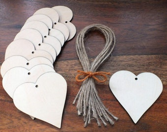 50 Wooden Hearts Gift Tags Wedding Table Place Names Favours Blank Shapes Invitation 5 cm, 6.5 cm, 8 cm, 10 cm & 15 cm