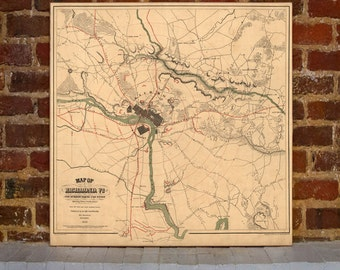 1864 Richmond Vintage Map Canvas Print