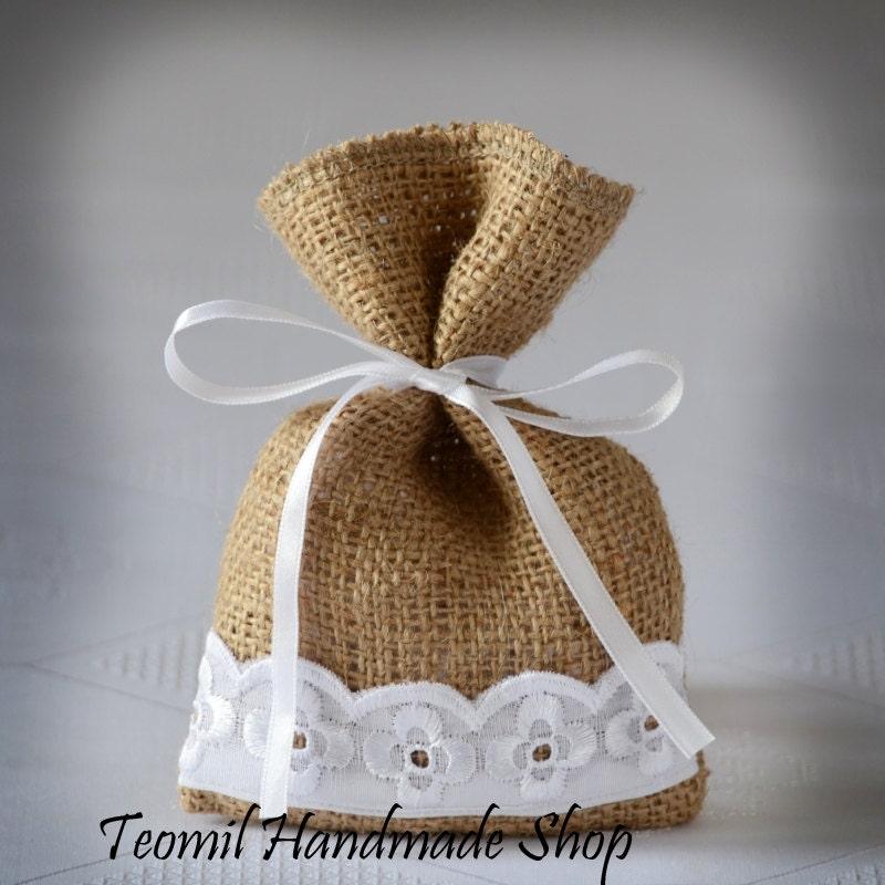 Wedding Gift Bags Burlap : Wedding Favor Bag Burlap Gift Bag Rustic Candy Bag SET OF