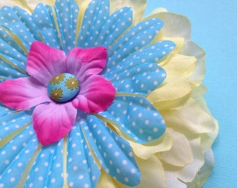 Yellow Pink & Blue with White Polka Dots Flower Hair Clip