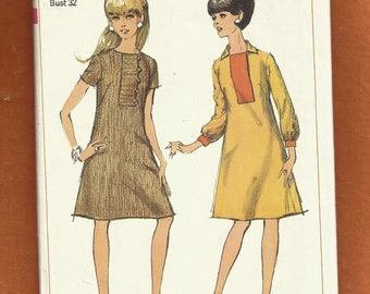 1967 Simplicity 7202 Mid Century A-Line Dress with Button Front Placket Size 12