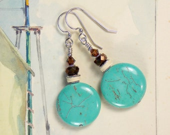 Turquoise and chocolate earrings with silver toned ear wires
