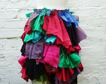 Upcycled Tattered Skirt Woman's Clothing Colorful Clown Recycled Art Made to Order