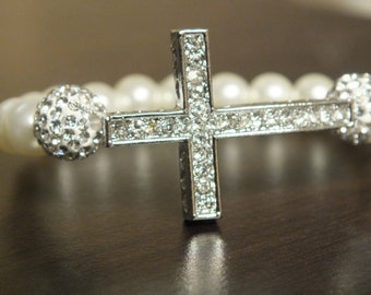 Faux Pearl Rhinestone Cross  Bracelet