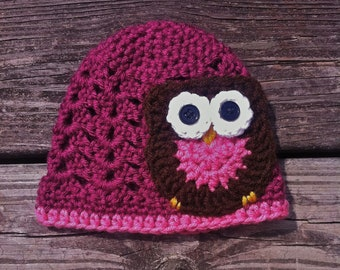 Crochet Baby Hat with Owl- Newborn to Toddler Sizes (Raspberry)