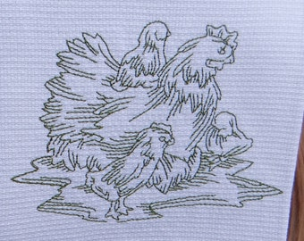 Olive Green Hen and Chicks Cotton Huck Kitchen Towel