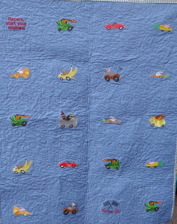 Animals in Automobiles Machine Embroidered Quilt for Boys