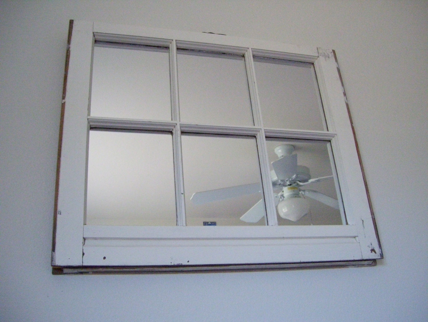 Decorative White 6 Pane Window Frame Mirror