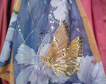 Hand painted silk shawl with butterflies and hibiscus flowers