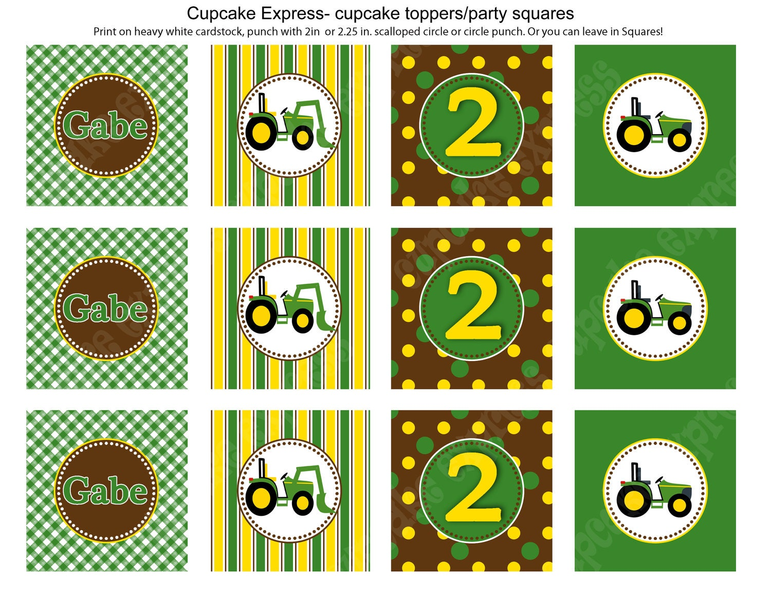 It's just an image of Canny John Deere Cupcake Toppers