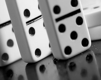 Domino art, Game room decor, Black and white prints, Play room art, Game art, Man cave decor, Home decor wall art // Dominoes photograph