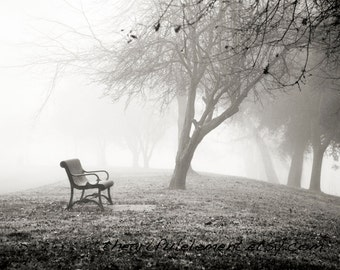 Quiet Bench in fog - Canvas decor, Home Decor, Wall art, Black and White print, park, winter, foggy