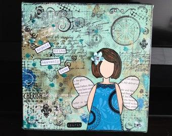 Angels bring heavenly love original mixed media she art, angel art