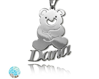 Personalized Kid's Teddy Bear Sterling Silver 0.925 Name Necklace