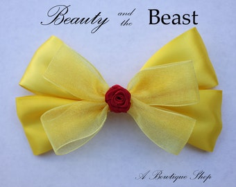 beauty and the beast hair bow